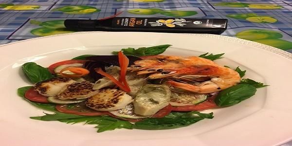 Scallop, Prawn, beet, and Artichoke salad, Argan oil flavor